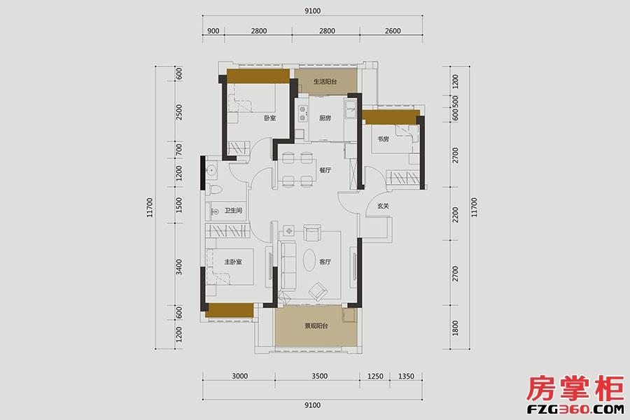 C户型-约85㎡-3房2厅1卫