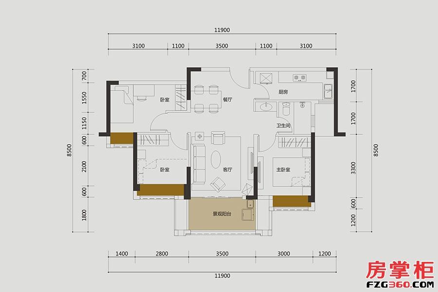 D户型-约82㎡-3房2厅1卫