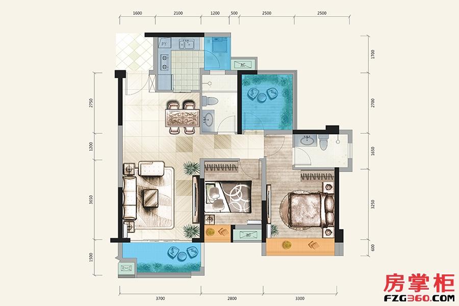 D户型-95㎡-3房2厅2卫