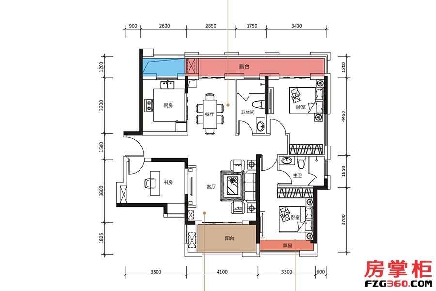 D户型-122�O-3房2厅2卫