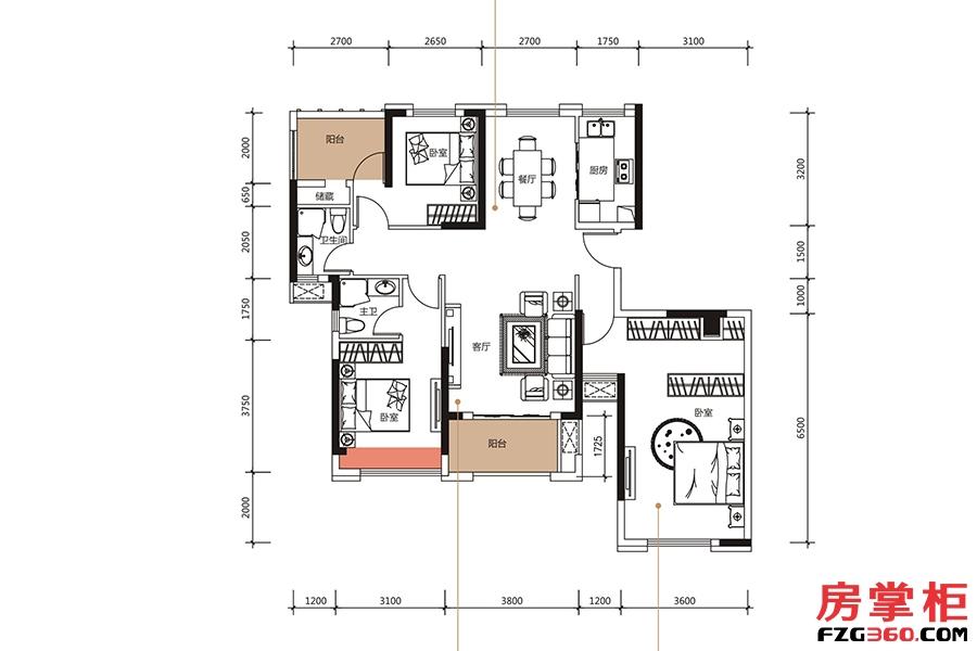 J户型-140㎡-3房2厅2卫