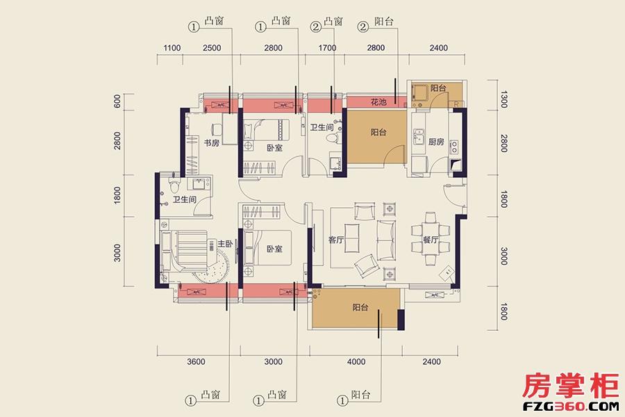 C13栋B户型-122㎡-4房2厅2卫