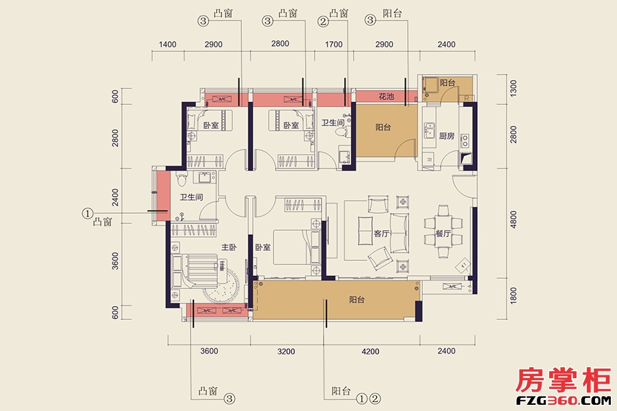 C13栋C户型-134㎡-5房2厅2卫
