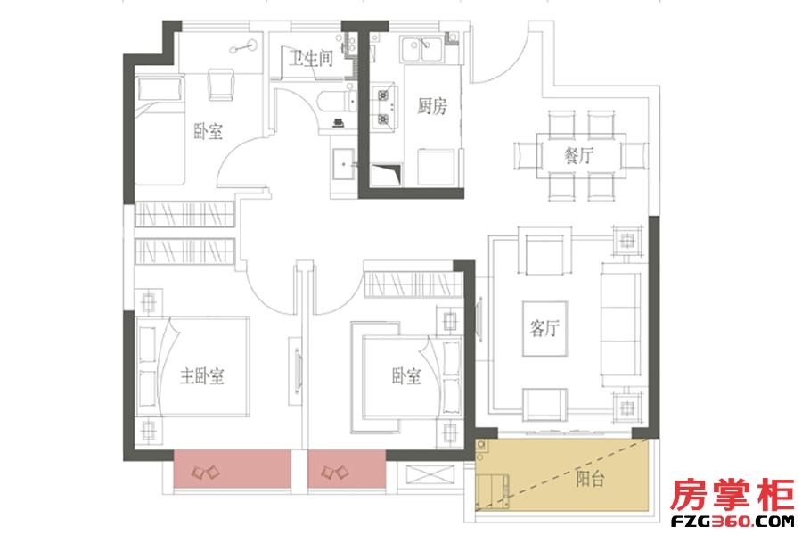 A户型-89㎡-三房两厅一卫