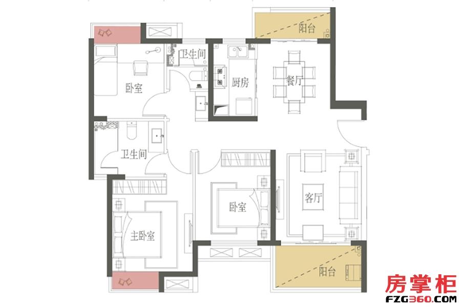 B1户型-109㎡-三房两厅一卫