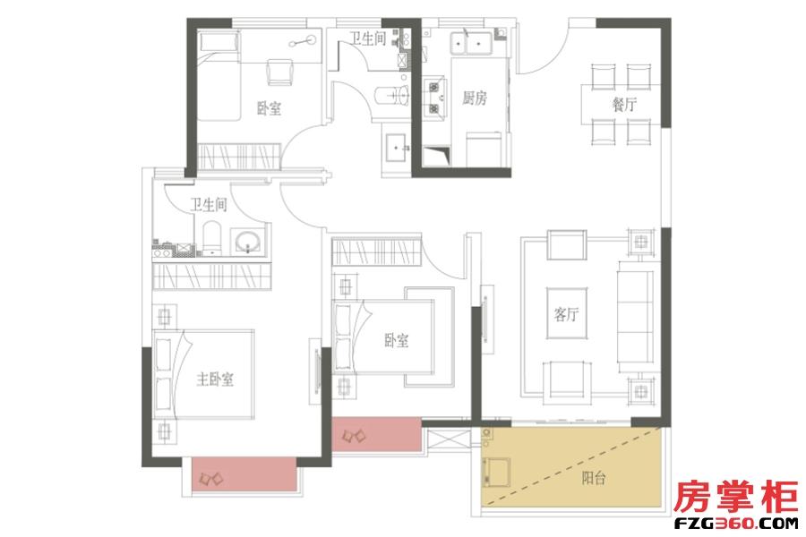 B2户型-109㎡-三房两厅一卫