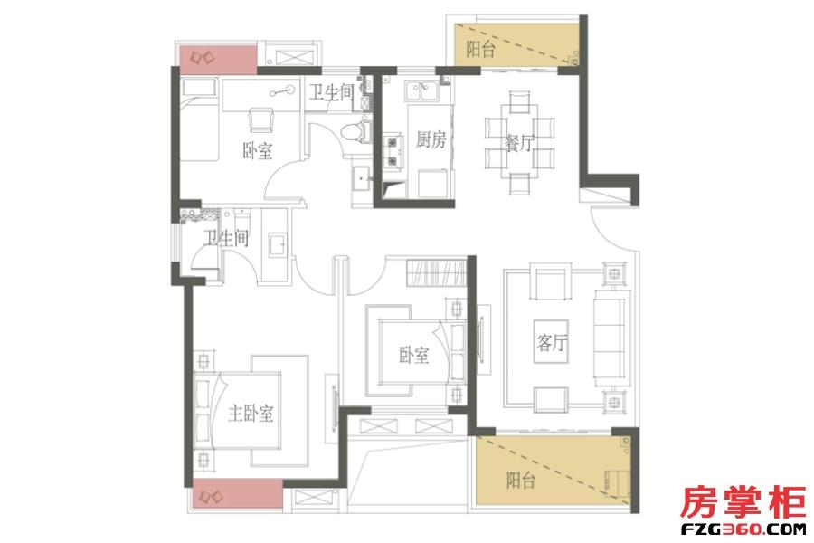 C户型-118㎡-三房两厅一卫