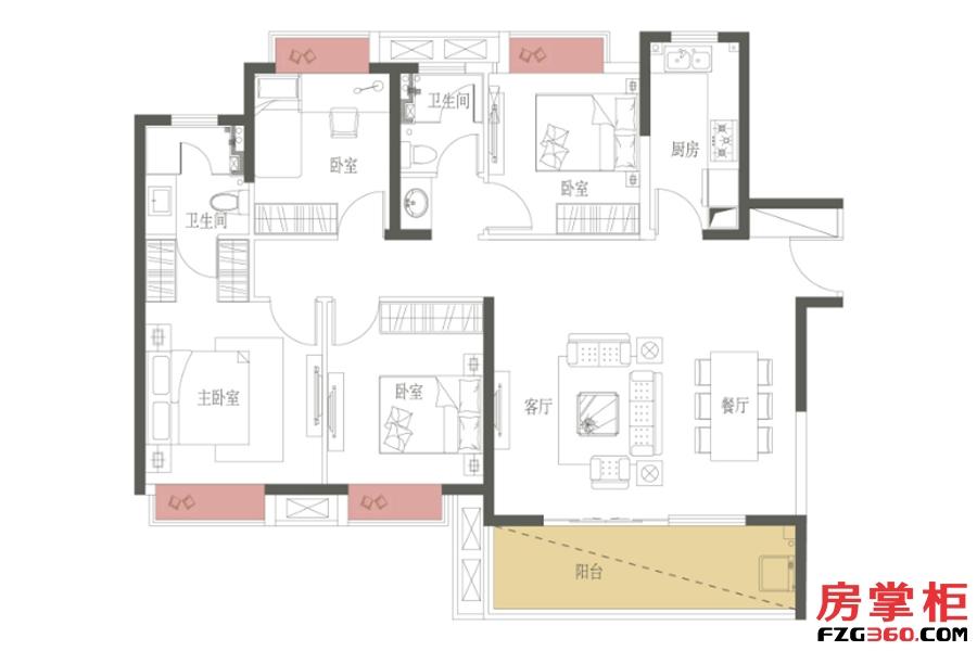 D户型-136㎡-4房2厅2卫