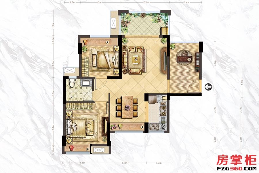A1户型-75㎡-2房2厅1卫