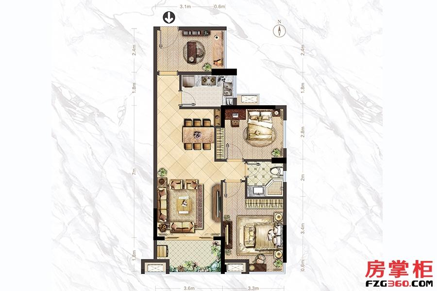 A2户型-81㎡-2房2厅1卫