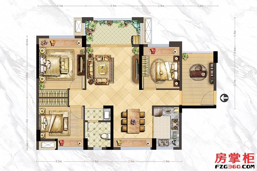 A3户型-95㎡-3房2厅1卫