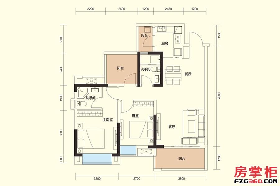 E户型-89㎡-2房2厅2卫