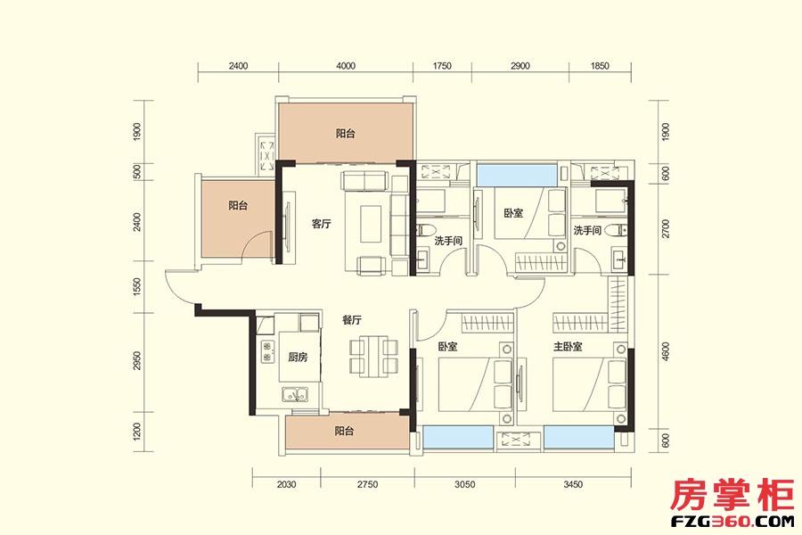 F户型-116㎡-3房2厅2卫