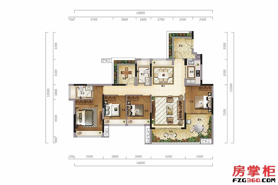 翡翠阁(三层)-135�O-4房2厅2卫