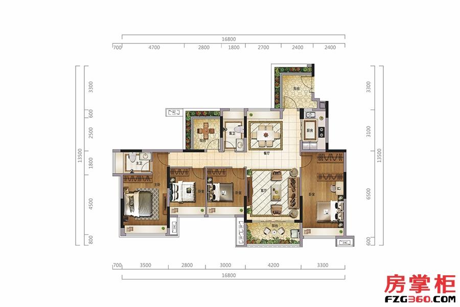 观园墅(二层)-144�O-4房2厅2卫