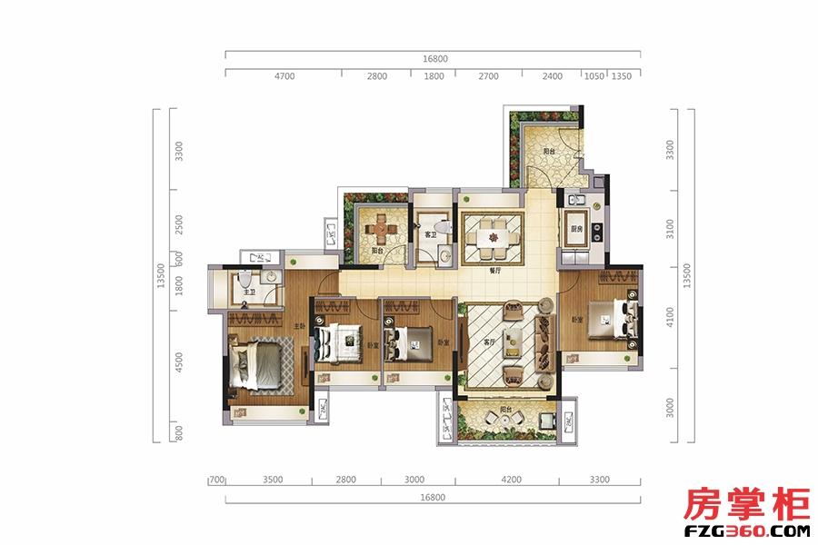 揽景阁(标准层)-135�O-4房2厅2卫