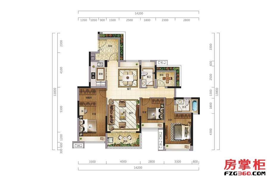 阅园墅(二层)-128㎡-3房2厅2卫