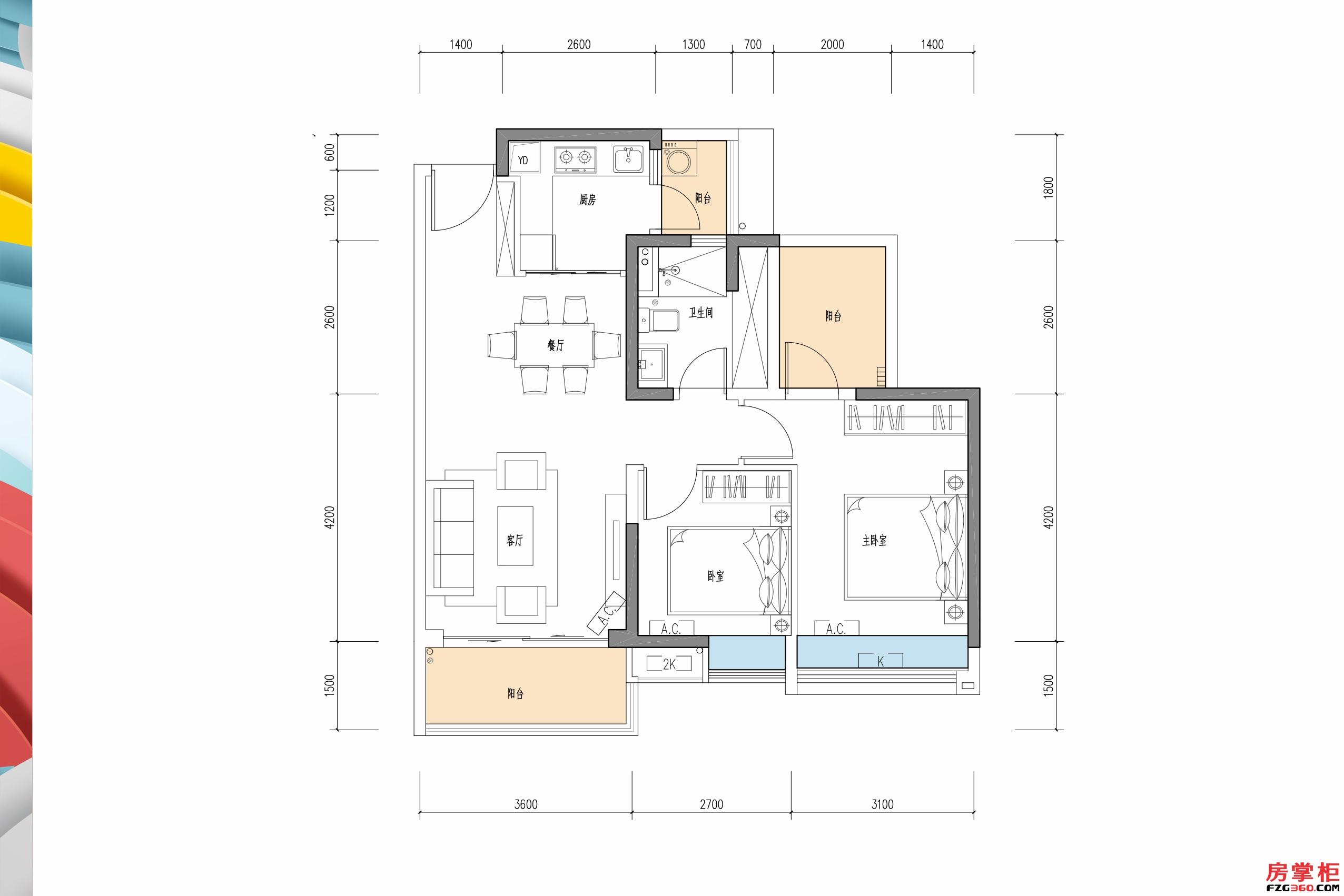 华彩-85�O-2房2厅1卫