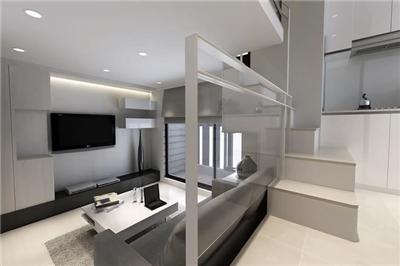 60平米黑白简约风格两居室复式小户型家装案例效果图