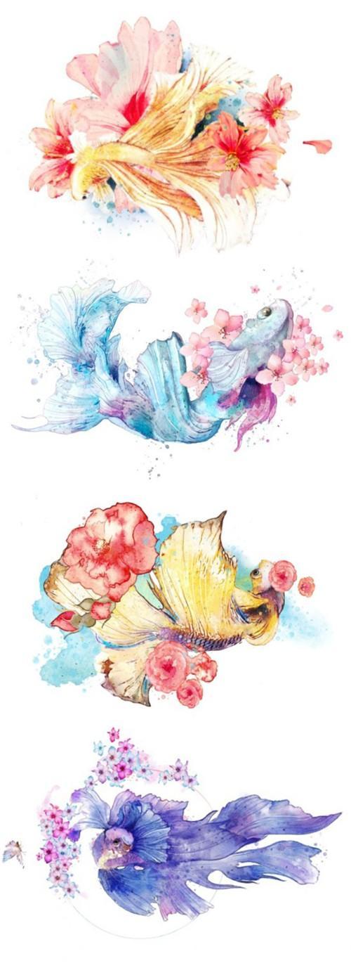 """手绘设计来自""""墨茄moga创意文化工作室""""   心愿锦鲤将结合刺绣风格"""
