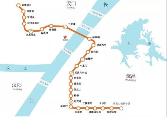 △地铁7号线与纸坊线路线图